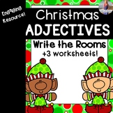 Christmas Adjectives Write the Room + Worksheets