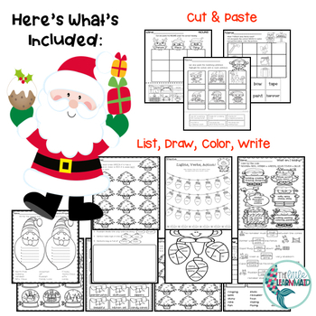 Christmas Adjectives, Verbs, Nouns, Worksheets, Writing Activity, Games and More