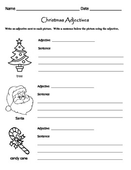 Christmas Adjectives Worksheets / Parts of Speech Worksheets by ...