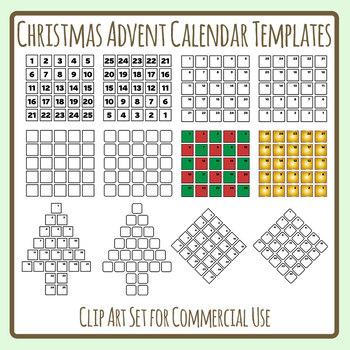christmas advent calendar templates clip art set for commercial use