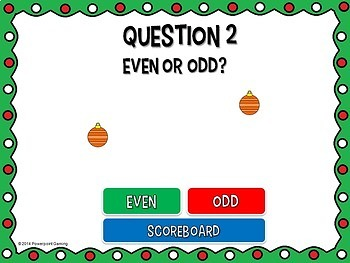 Even or Odd Numbers Christmas Powerpoint Game