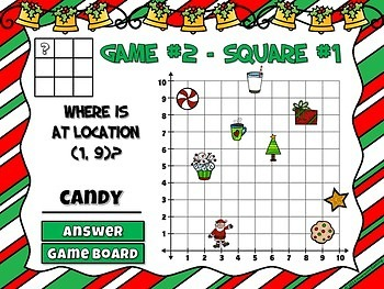 Coordinate Grid Christmas Edition Powerpoint Game