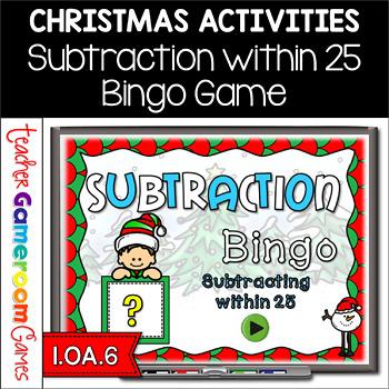 Subtracting within 25 Christmas Bingo Powerpoint Game