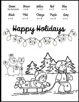 Algebra Christmas Coloring {Christmas Algebra 1 and 2 Activity}