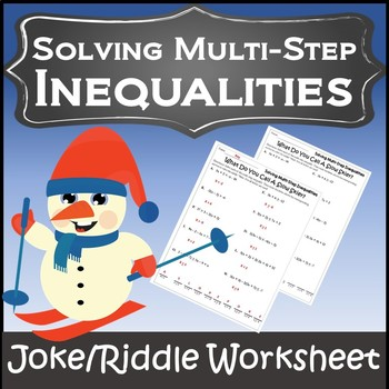 Algebra Winter {Solving Inequalities Activity} {Solving Inequalities Worksheet}