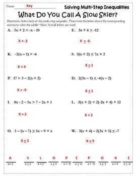 Algebra Winter Solving Inequalities Activity Solving Inequalities Worksheet