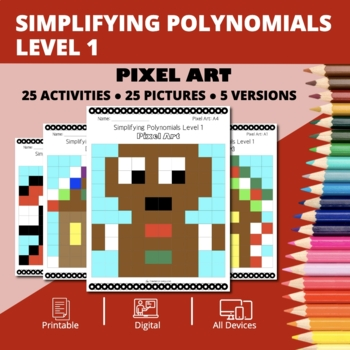 Christmas: Algebra Simplifying Polynomials #1 Pixel Art Mystery Pictures