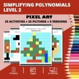 Christmas: Algebra Simplifying Polynomials #2 Pixel Art My