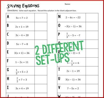 Christmas Algebra – Solve 2-Step Equations