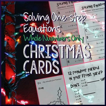 Christmas Algebra – Solve One-Step Equations