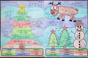 Christmas Algebra Two Scenes - Editable Equations