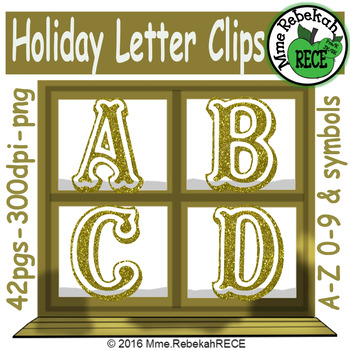 Christmas Alphabet Clip Set Commercial and Personal Use Gold