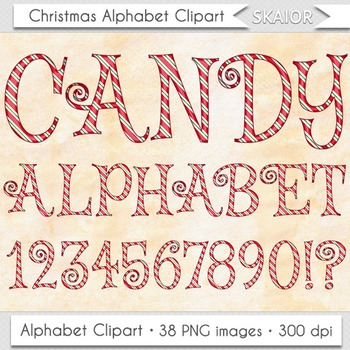 Christmas Alphabet Clipart Red Candy Cane Letters Numbers Digital Text Printable