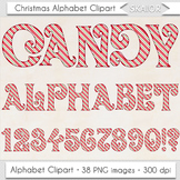 Christmas Alphabet Clipart Red Candy Cane Letters Numbers