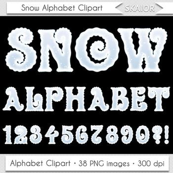 Christmas Alphabet Clipart Snow Alphabet Winter Alphabet Letters Numbers Text