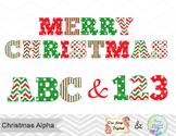 Christmas Alphabet Digital Clip Art Red Green Christmas Color Alpha Clipart 0383