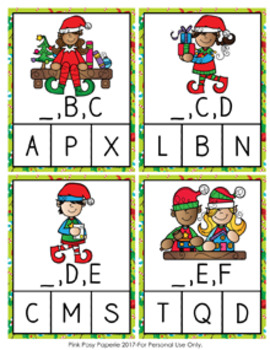 Christmas Elf Alphabet Letter Sequencing Clip Cards