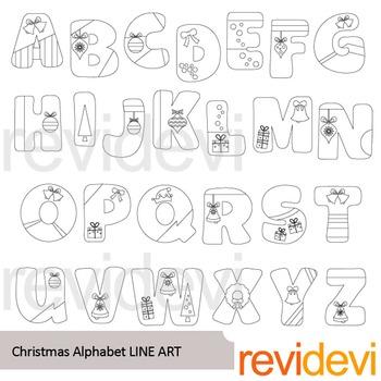 Christmas Alphabet Line art - clipart black line