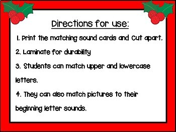 Christmas Alphabet Match and Beginning Sounds Activity