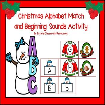 Christmas Alphabet Match and Beginning Sounds Activity