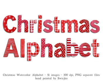 Christmas Alphabet, watercolor letters, ABC, Holiday decoration, typography