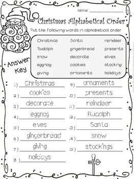 Christmas Alphabetical (ABC) Order - Differentiated