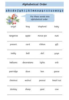 Christmas Alphabetical Order Worksheets