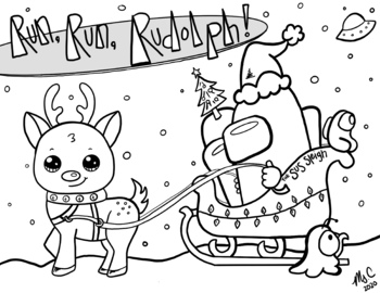 Christmas Among Us Rudolph Coloring Sheet By Art With Ms C Tpt