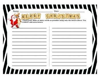 Christmas Anagram Worksheet {FREEBIE}