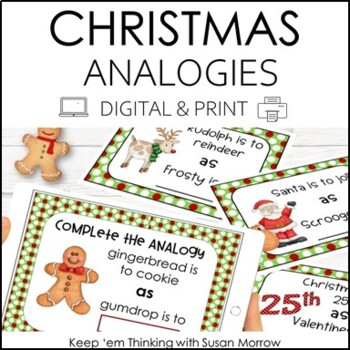 Christmas Analogies for Grades 1-3  Task Cards
