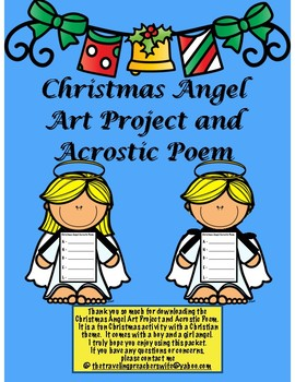 Christmas Angel Art Activity and Acrostic Poem