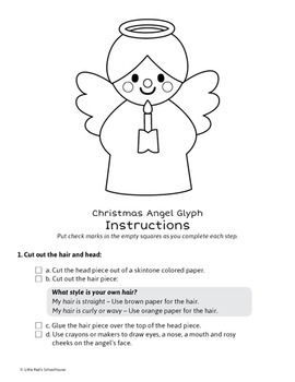 Christmas Angel Math Activity - Glyph Craft with Worksheets