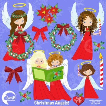 christmas angel clipart angels in red clipart wreaths bows amb 1119