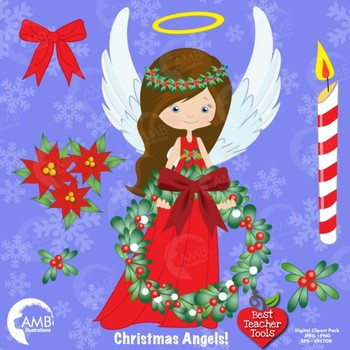 Christmas Angel clipart, Angels in Red Clipart, Wreaths, Bows, AMB-1119
