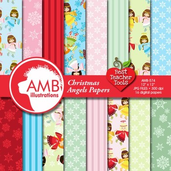 Digital Papers - Christmas Angel digital paper and backgro