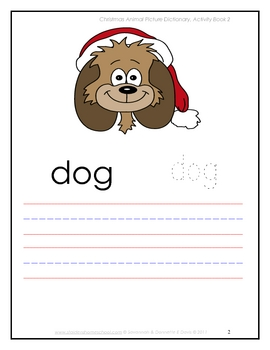 Christmas Animals, A Picture DictionaryTracing and Copy Book