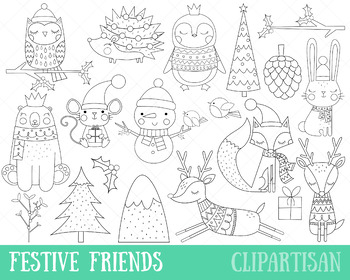 Christmas Animals Clip Art, Coloring Activity