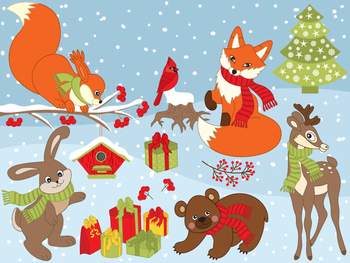 Christmas Animals Clipart - Digital Vector Squirrel, Bear, Deer Clip Art