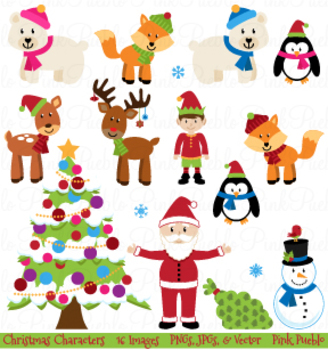 Christmas Animals Clipart and Vectors