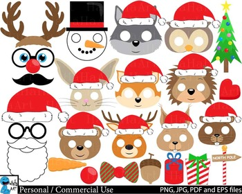Christmas Animals Props - Clip Art Digital Files Personal