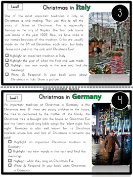 Nonfiction Leveled Reading Passages and Questions - Christmas Around the World 1