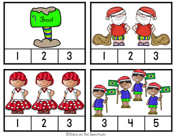 Christmas Around The World Brazil-Christmas Around The World Counting Clip Cards