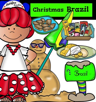 Christmas Around The World: Brazil Clip Art- Color/ black&white-47 items!