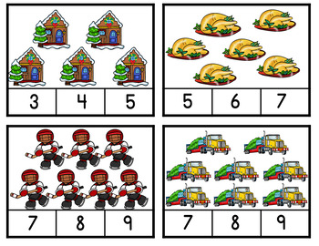 Christmas Around The World Canada-Christmas Around The World Counting Clip Cards