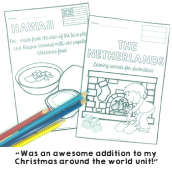 Christmas Around The World ** Colouring Pages ** 18 black line masters to color