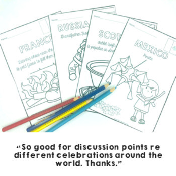 Christmas Around The World COLORING PAGES 18 black line masters to color