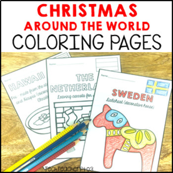 Christmas Around The World ** Colouring Pages ** 17 black