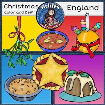 Christmas Around The World: England Clip Art- Color/ black&white