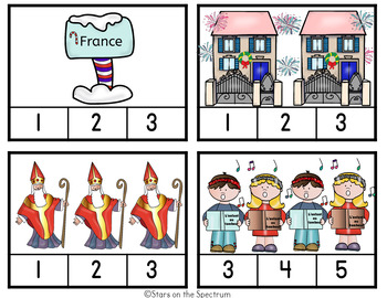 Christmas Around The World France-Christmas Around The World Counting Clip Cards
