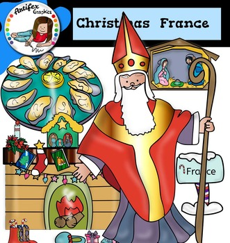 Christmas Around The World: France Clip Art- Color/ black&white-45 items!